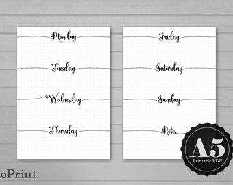 Imprimable Inserts de planificateur hebdomadaire - A5 - Script calligraphie - Bullet Journal étendre avec grilles - mise en page horizontale semaine non daté Wo2P - BuJo