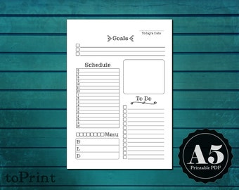 Daily Planner Insert - A5 Printable Planner Pages - Handwritten Font - Color and Decorate - ToDos - DO1P Day on One Page - Today Refills