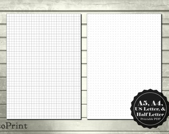 5mm Plain Square Grid and Dot Grid Printable Planner Pages - Bullet Journal - A4 A5 US Letter and Half Letter Blank Grid Sheets Inserts PDF