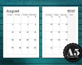 Monthly Calendar Planner Inserts - A5 Printable Planner - Dated Month on Two Pages 2020 and 2021 - Mo2P - Handwritten Font - 24 month PDF