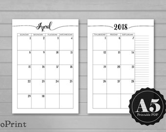 Monthly Calendar Planner Inserts - Calligraphic Script - A5 Printable Planner - Dated Month on Two Pages 2017, 2018, and 2019 - Mo2P