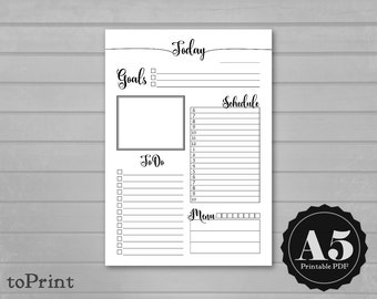 Daily Planner Insert - A5 Printable Planner Pages - Calligraphy Script - ToDos - DO1P Day on One Page - Today Insert Refill
