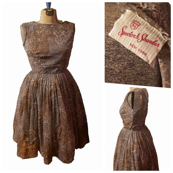 1950s Vintage DRESS~Chocolate Brown Rayon A-line Med40b