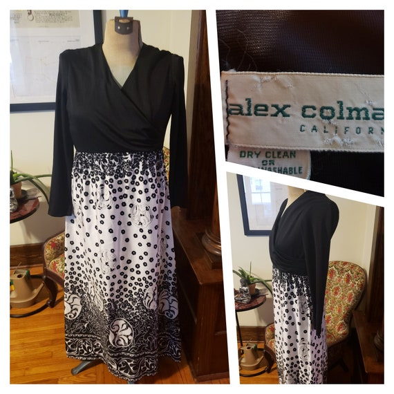 Vintage 70's Alex Coleman Dress Black White Long S