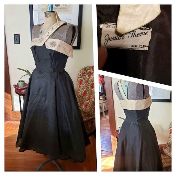Vintage 40's Junior Theme Evening Gown Black & Whi