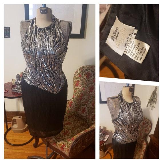 Vintage 80's Oscar De La Renta Sequined Dress Desi