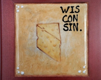 Ode to Wisconsin Cheese   Framed Hand-painted Ceramic Trivet
