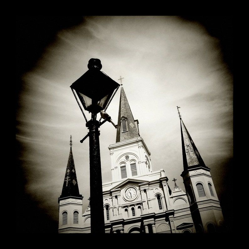 St. Louis Cathedral in Black and White by J. Ensley image 0