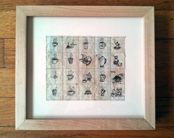 "Original Drawing, ""Coffee, 20 Ways"" by J. Ensley"