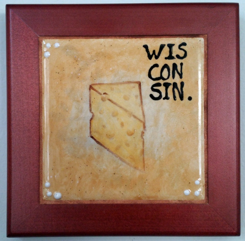 Ode to Wisconsin Cheese  Framed Hand-painted Ceramic Trivet image 0