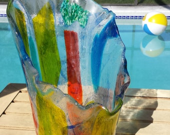 Rainbow Vase Fused Glass Rainbow Vase Large