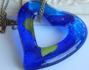 Fused Glass Heart Blue Green Open Heart Pendant Necklace