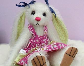 "Sasha soft toy bunny rabbit sewing pattern.  Dressed 8"" tall"