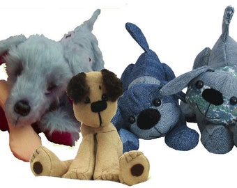 Three playful pups pattern pack. All three puppy dog sewing patterns.