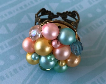 Vintage pastel beaded costume jewelry adjustable ring