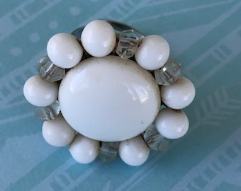 Vintage white and crystal bead costume jewelry adjustable ring