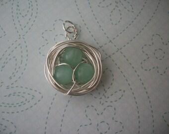 Silver Bird's nest pendant (jadeite)