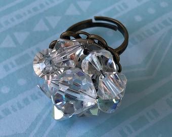 Vintage crystal bead costume jewelry adjustable ring