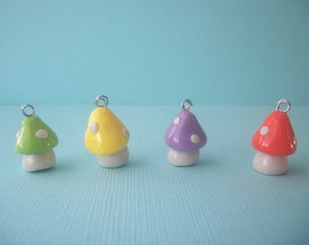 Mini mushroom polymer clay necklace-green