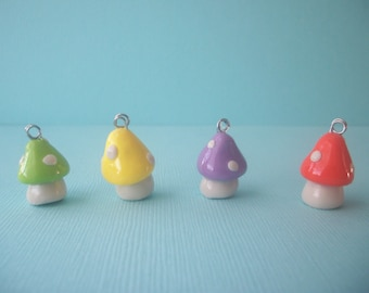 Mini mushroom polymer clay necklace-multiple colors available