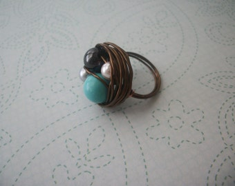 Antiqued brass bird's nest ring (multicolored beads)-Any size