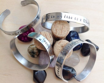 Inspiration Every Moment is a Chapter Personalized Hand Stamped Bracelet - Personalized Stamped Bracelet Cuff, Inspirational Gift