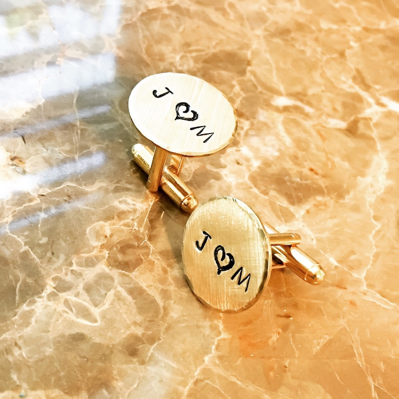 Quote Wedding Hand Stamped with Your Name Metal Customized Cuff Links Brass for Him Personalized Cufflinks Initials Copper Silver