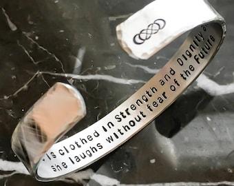 Message Bracelet - Bible Verse - Personalized Bracelet Cuff - Custom Stamped Bracelet - Your Name, Quote - Personalized Stamped Bracelet
