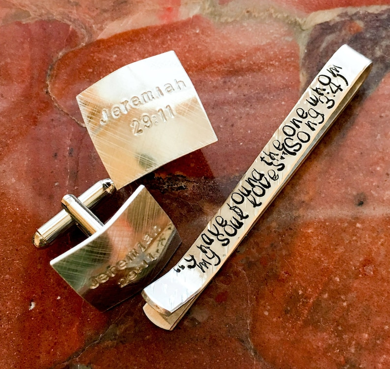 Hidden Message Groom silver tone or gold tone Customized With Your Words copper Bible Verse Secret Message Tie Bar