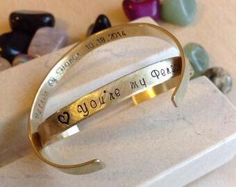 Hand Stamped Bracelet, Custom Bracelet, Personalized Cuff, Message Bracelet, Name, Personalized Stamped Bracelet, Custom Stamped Bracelet