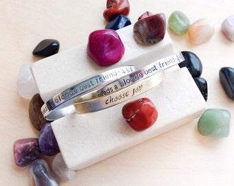Personalized Metal Bracelet - Custom Hand Stamped Bracelet - Personalized Bracelet Cuff - Personalized Stamped Bracelet