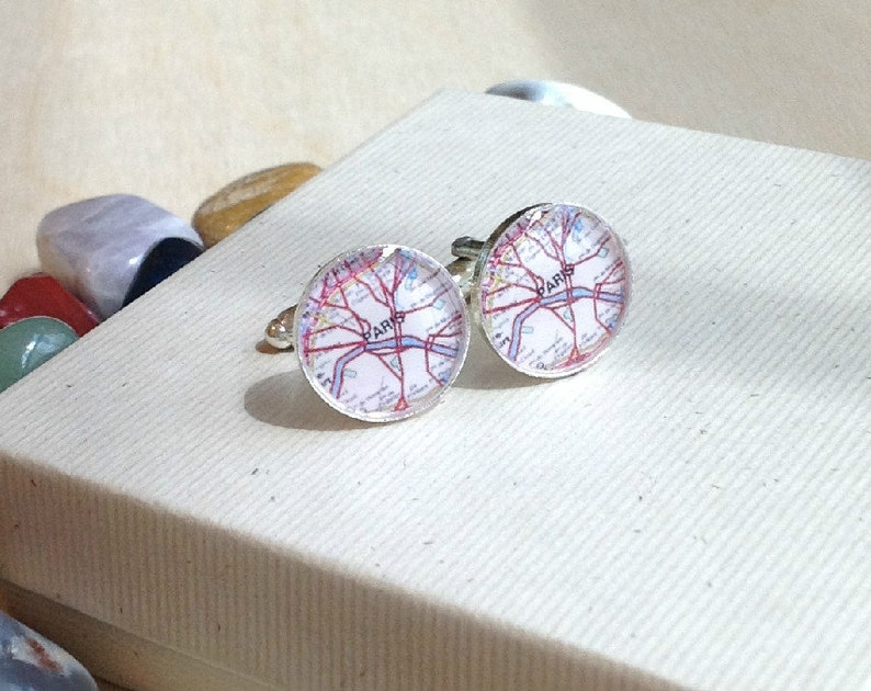 Best Man Honeymoon Groomsmen Map Cuff Links Cuff Links Customized with Map Paris and Madrid Memories for Dad Grandpa