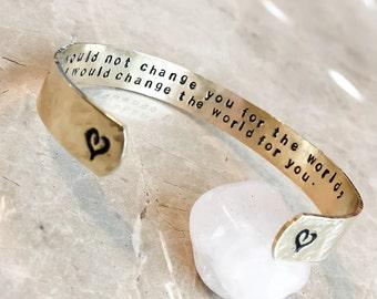 Hand Stamped Bracelet - Custom Hand Stamped Bracelet - Personalized Bracelet Cuff - Latin, coordinates, mantra, Personalize Stamped Bracelet