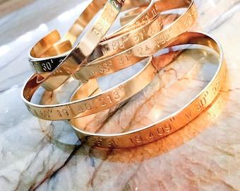 Custom Coordinates Bracelet Cuff- Custom Hand Stamped Bracelet - Personalized Bracelet Cuff - GPS, Longitude, Latitude, or Quote, Wanderlust