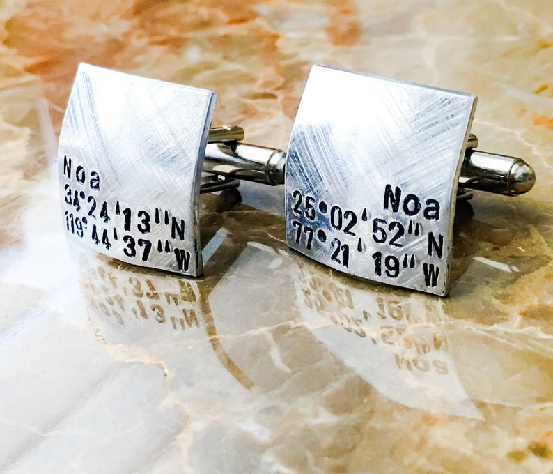 Your Name Flat Custom Coordinates Personalized Cuff Links Square Hand Stamped Cufflinks Domed Round Different Metals Wedding Gift