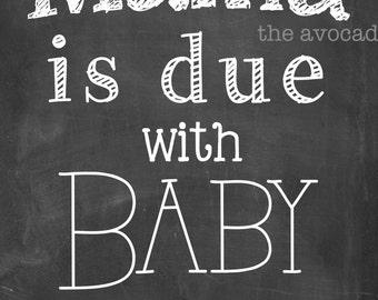 2nd baby chalkboard announcement art