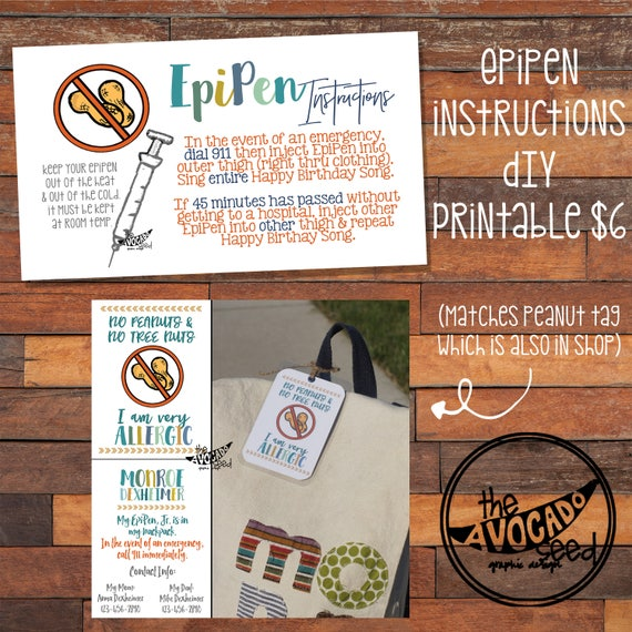 epipen instructions for backpack diaper bag etc instant etsy