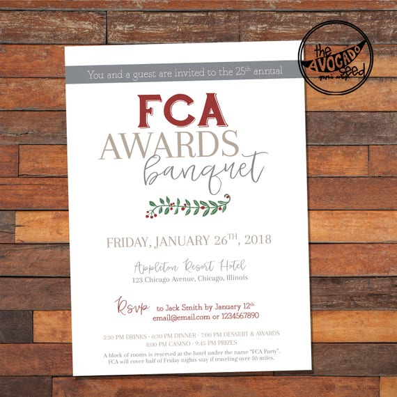 Business Corporate Holiday Party | Awards Banquet | Any Text - DIY printing or Professional Prints via PM. Quick shipping. Quick turnaround