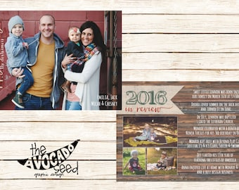 Rustic Wood Double-sided Year in Review Holiday Photo Christmas Card - DIY Printing or Professional Prints