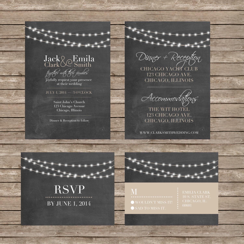 Diy Chalkboard Wedding Invitations: Chalkboard Wedding Invitations AND RSVP Cards DIY Or