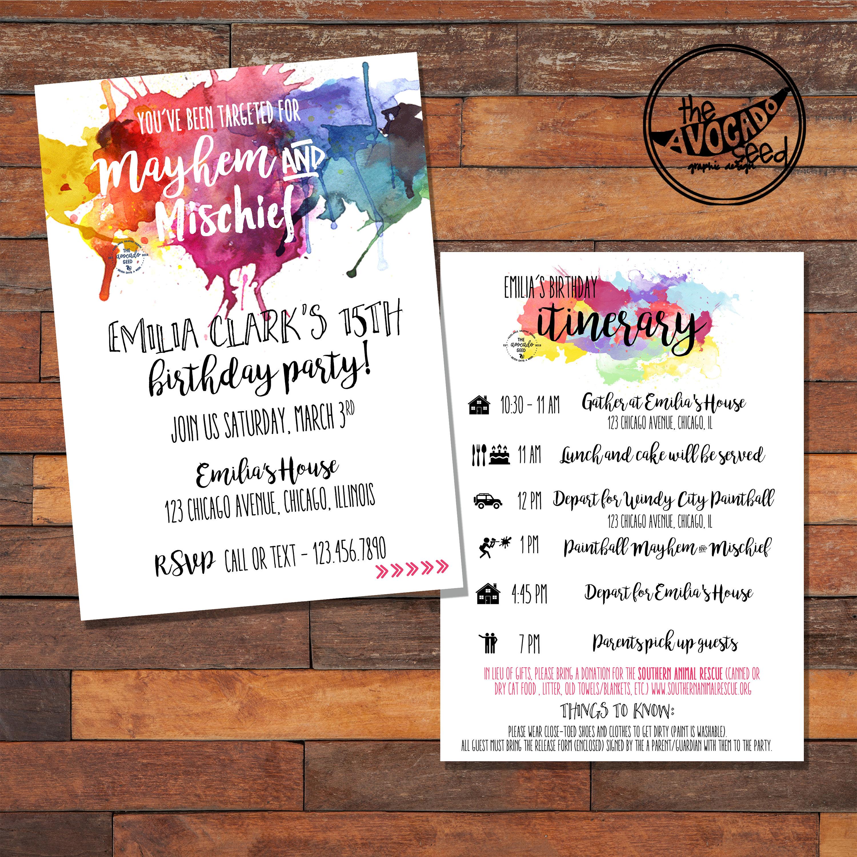 Paintball Birthday Party Invitation DIY Printing price | Etsy