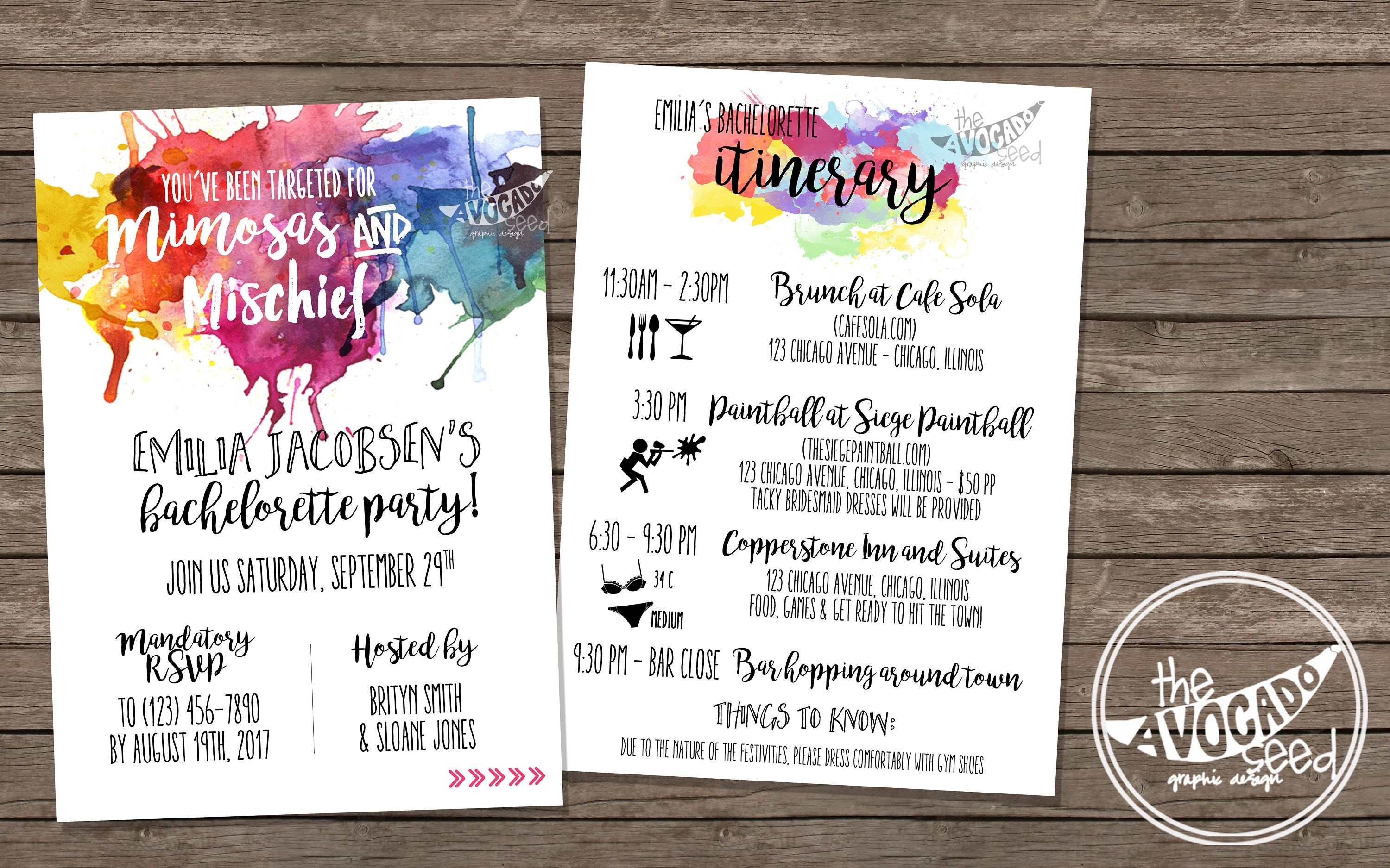 Mimosas and Mischief Paintball Bachelorette Invitation DIY | Etsy