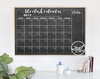 Reusable Dry Erase Family Wall Calendar - DIY Printing Only