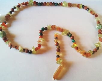 Goldstone and Carnelian with Quartz Crystal Pendant Necklace