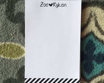 LOCAL CUSTOMER-Personalized Notepad- Stripes/Hearts