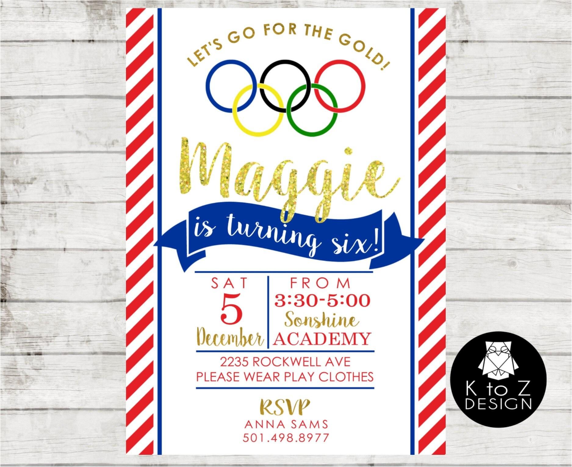 Olympic Gymnastics Birthday Party /Gymmnastics Invitation | Etsy