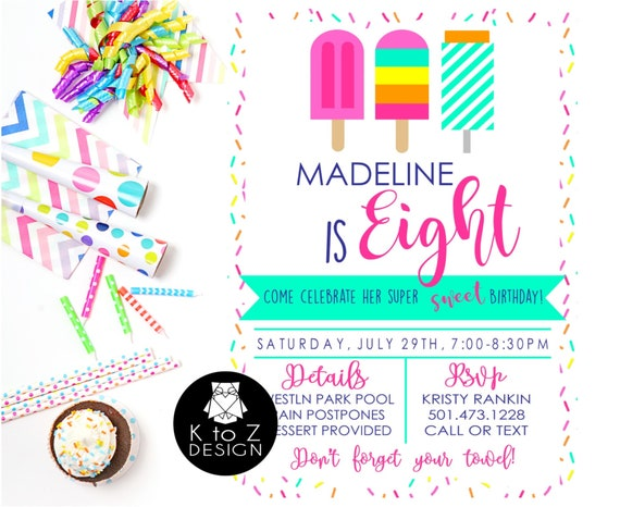 popsicle party invitation popsicle invitation summer party etsy