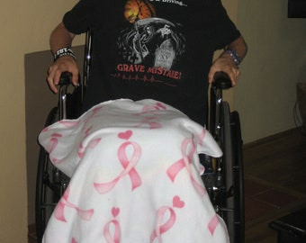 Breast Cancer Awareness, Wheel Chair Blanket, Pink Ribbon, Treatment  Center Blanket, Hospital Blanket, Free US Shipping, Patient Blanket