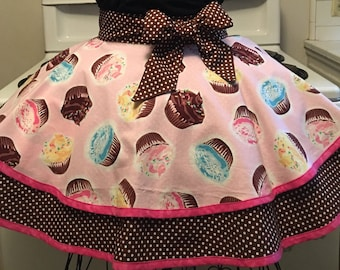 Cupcakes Adult Apron, Fancy Hostess Apron, Half Apron, Gift for Her, Cooking Apron, Handmade, Birthday Gift, Vintage Inspired, Free US Ship