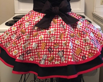 Rise and Shine Apron, Cooking Apron, Fancy Half Apron, Retro Ladies Apron, Vintage Inspired Apron, Gift for Her, Birthday Gift, Free Ship